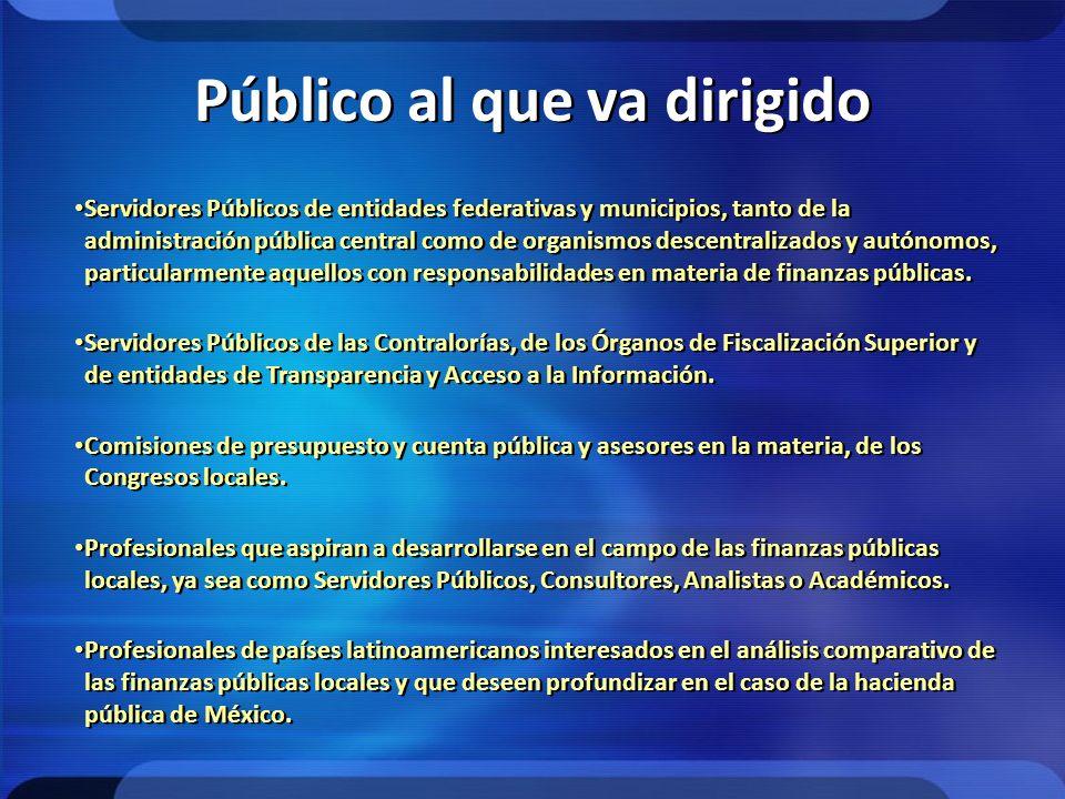 Público al que va dirigido Servidores Públicos de entidades federativas y municipios, tanto de la administración pública central como de organismos de