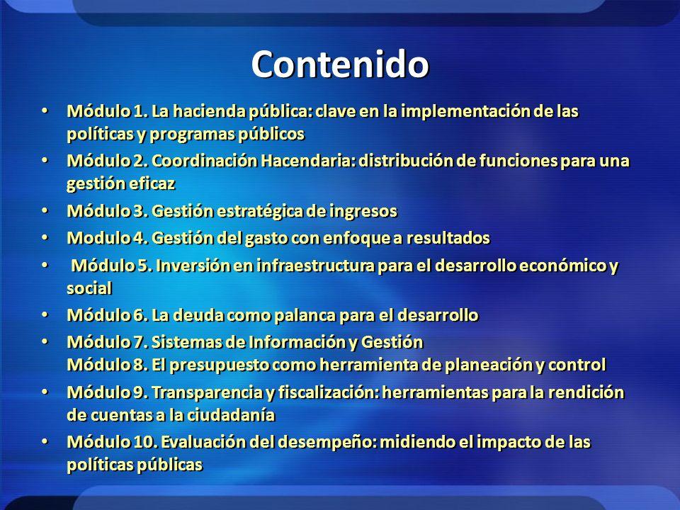 Contenido Módulo 1. La hacienda pública: clave en la implementación de las políticas y programas públicos Módulo 2. Coordinación Hacendaria: distribuc
