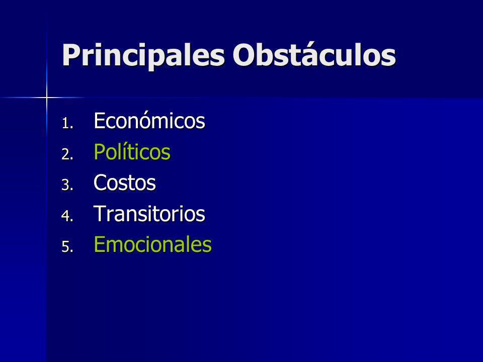 Principales Obstáculos 1. Económicos 2. Políticos 3. Costos 4. Transitorios 5. Emocionales