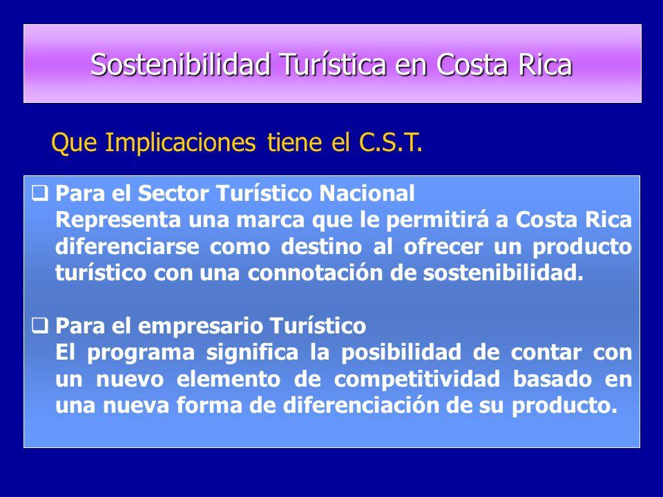 Para el Sector Turístico Nacional Representa una marca que le permitirá a Costa Rica diferenciarse como destino al ofrecer un producto turístico con una connotación de sostenibilidad.