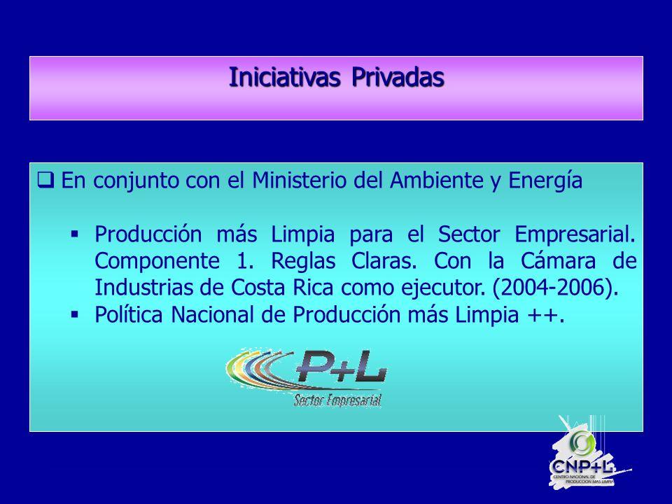 Iniciativas Privadas En conjunto con el Ministerio del Ambiente y Energía Producción más Limpia para el Sector Empresarial.