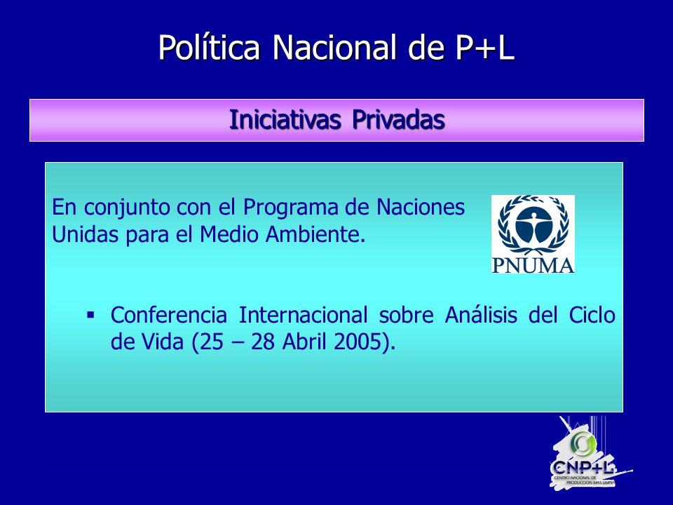 Política Nacional de P+L Política Nacional de P+L Iniciativas Privadas En conjunto con el Programa de Naciones Unidas para el Medio Ambiente.