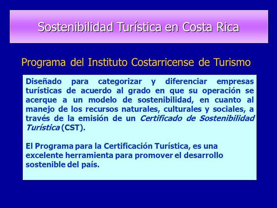 Programa del Instituto Costarricense de Turismo Diseñado para categorizar y diferenciar empresas turísticas de acuerdo al grado en que su operación se acerque a un modelo de sostenibilidad, en cuanto al manejo de los recursos naturales, culturales y sociales, a través de la emisión de un Certificado de Sostenibilidad Turística (CST).