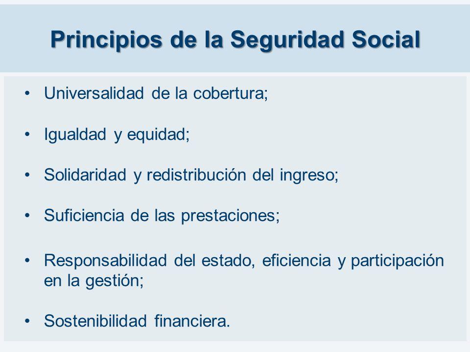 Principios de la Seguridad Social Universalidad de la cobertura; Igualdad y equidad; Solidaridad y redistribución del ingreso; Suficiencia de las pres