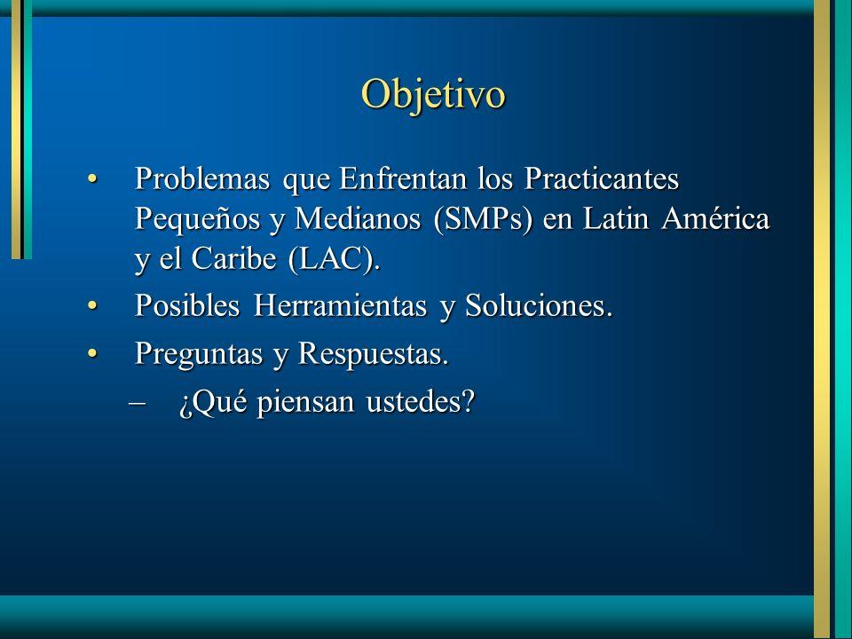 Objetivo Problemas que Enfrentan los Practicantes Pequeños y Medianos (SMPs) en Latin América y el Caribe (LAC).Problemas que Enfrentan los Practicantes Pequeños y Medianos (SMPs) en Latin América y el Caribe (LAC).