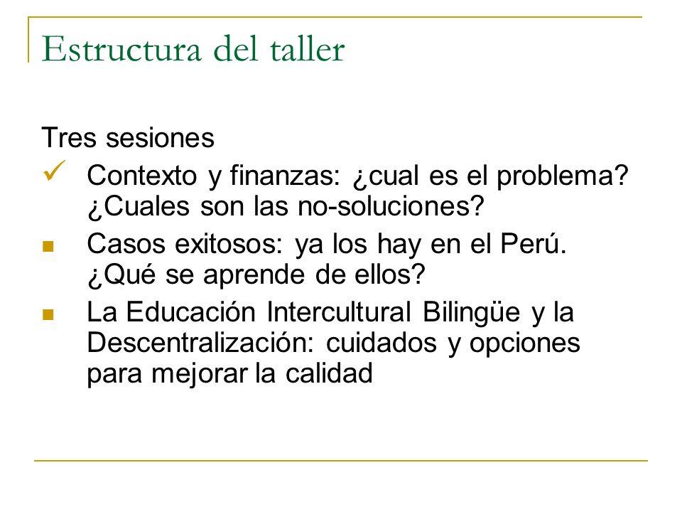 Estructura del taller Tres sesiones Contexto y finanzas: ¿cual es el problema.