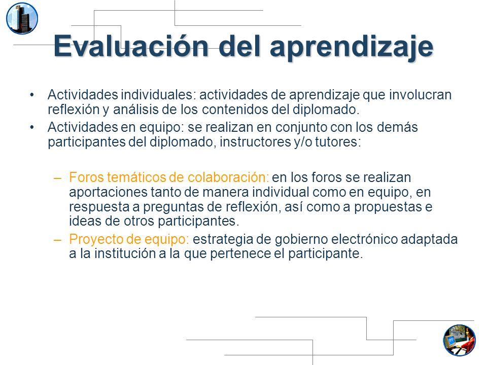Evaluación del aprendizaje Actividades individuales: actividades de aprendizaje que involucran reflexión y análisis de los contenidos del diplomado. A