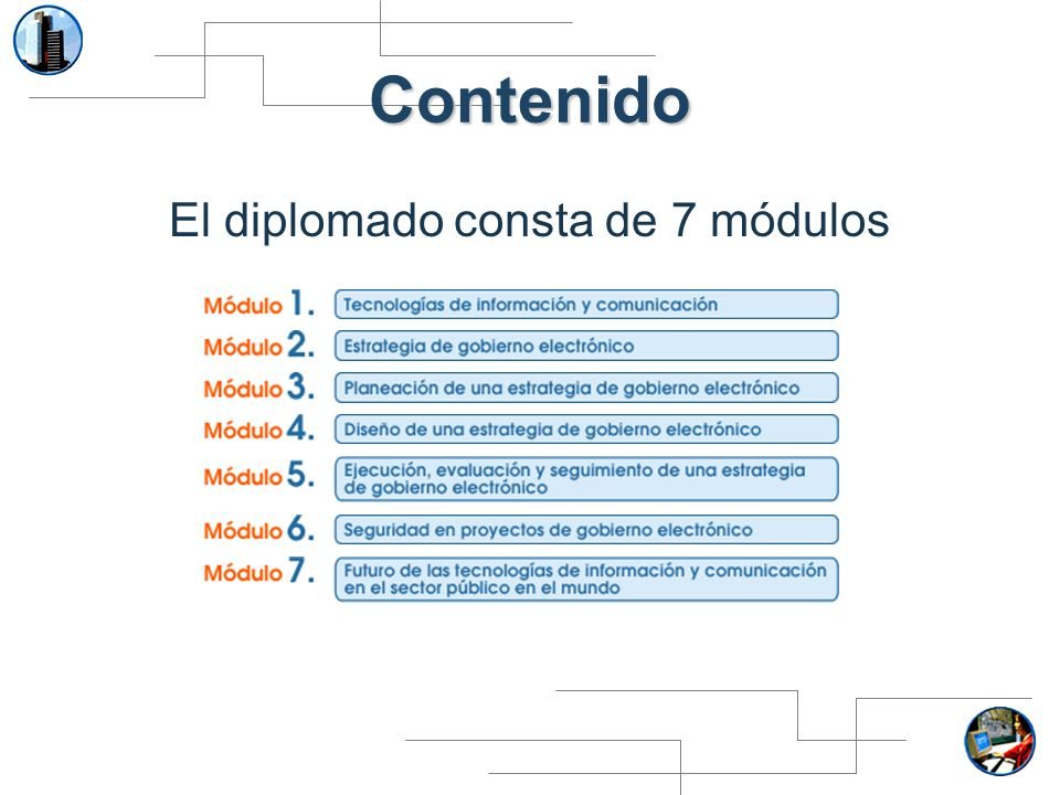 Contenido El diplomado consta de 7 módulos