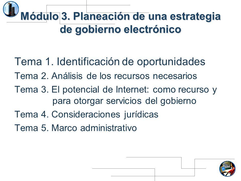 Módulo 3. Planeación de una estrategia de gobierno electrónico Tema 1. Identificación de oportunidades Tema 2. Análisis de los recursos necesarios Tem