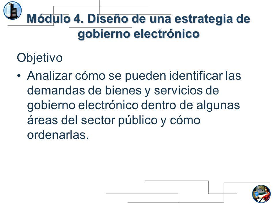 Módulo 4. Diseño de una estrategia de gobierno electrónico Objetivo Analizar cómo se pueden identificar las demandas de bienes y servicios de gobierno