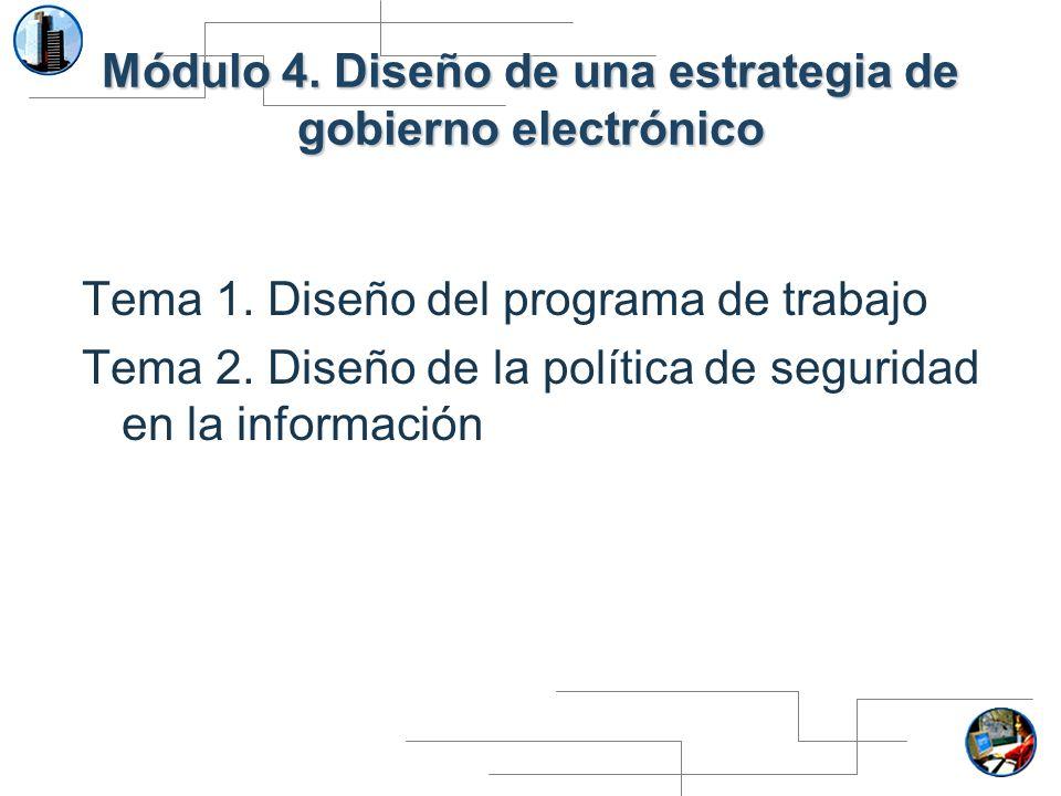 Módulo 4. Diseño de una estrategia de gobierno electrónico Tema 1. Diseño del programa de trabajo Tema 2. Diseño de la política de seguridad en la inf