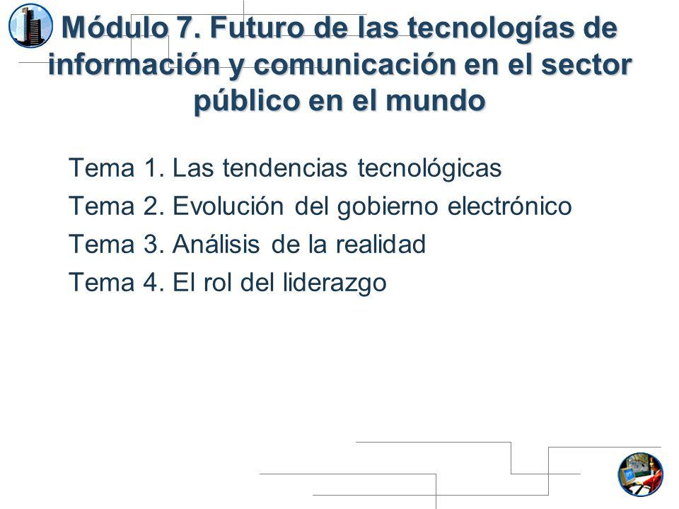 Módulo 7. Futuro de las tecnologías de información y comunicación en el sector público en el mundo Tema 1. Las tendencias tecnológicas Tema 2. Evoluci