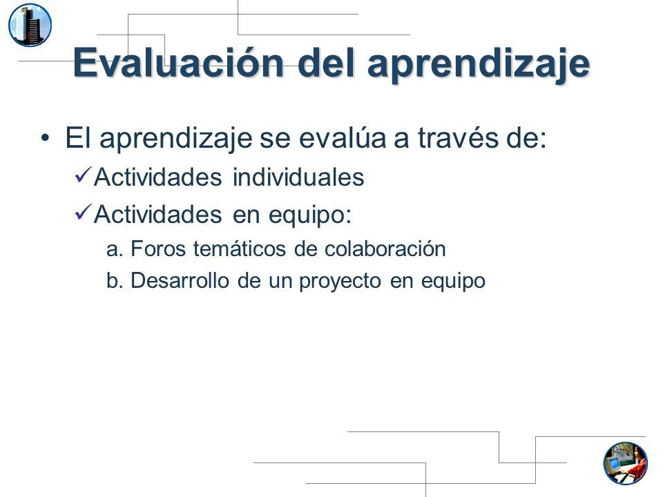 Evaluación del aprendizaje El aprendizaje se evalúa a través de: Actividades individuales Actividades en equipo: a. Foros temáticos de colaboración b.
