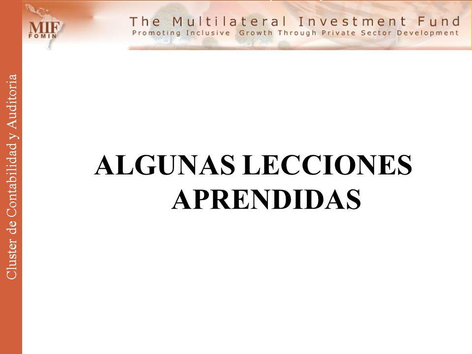 ALGUNAS LECCIONES APRENDIDAS Cluster de Contabilidad y Auditoria