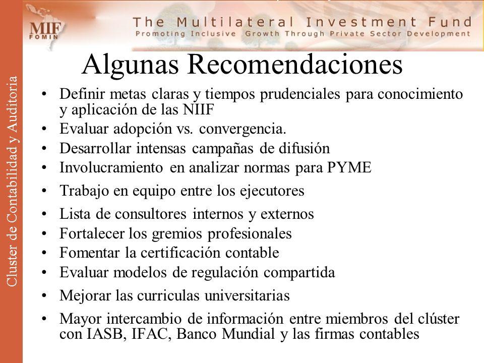 Algunas Recomendaciones Definir metas claras y tiempos prudenciales para conocimiento y aplicación de las NIIF Evaluar adopción vs. convergencia. Desa