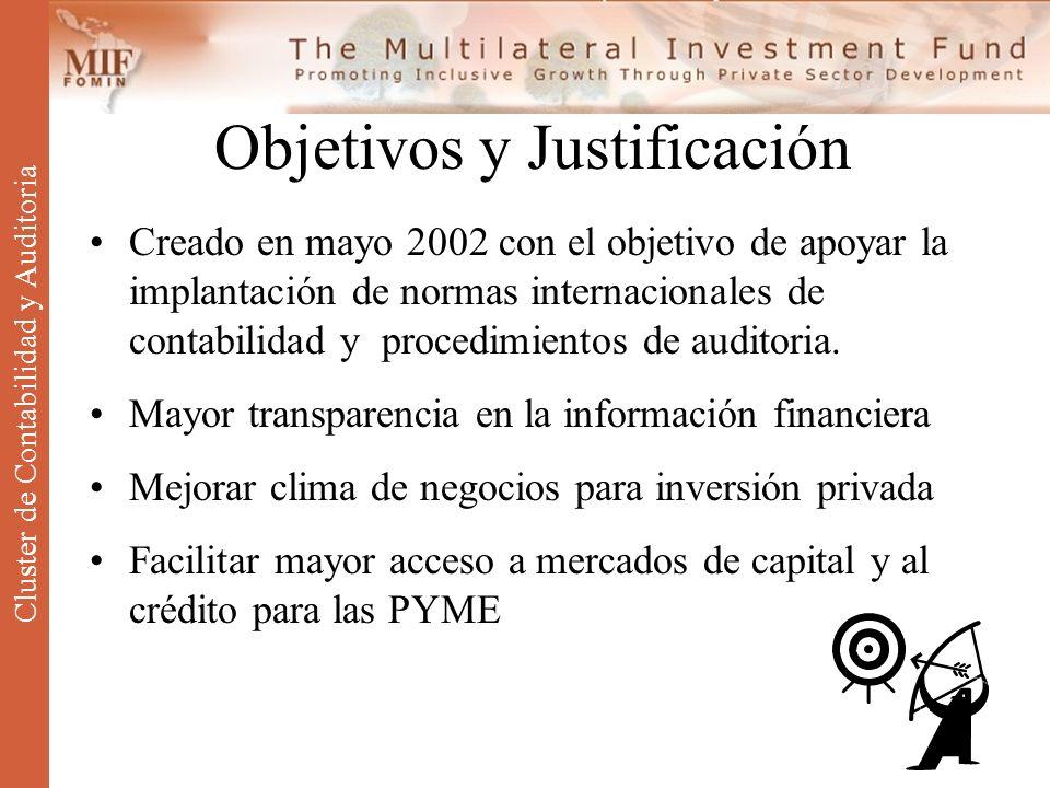 Objetivos y Justificación Creado en mayo 2002 con el objetivo de apoyar la implantación de normas internacionales de contabilidad y procedimientos de