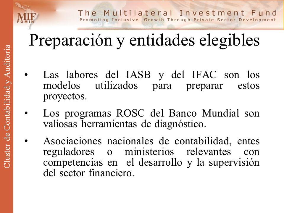 Preparación y entidades elegibles Las labores del IASB y del IFAC son los modelos utilizados para preparar estos proyectos. Los programas ROSC del Ban