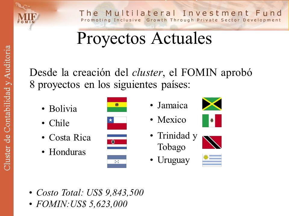 Proyectos Actuales Desde la creación del cluster, el FOMIN aprobó 8 proyectos en los siguientes países: Bolivia Chile Costa Rica Honduras Jamaica Mexi