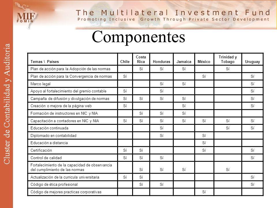 Componentes Cluster de Contabilidad y Auditoria Temas \ PaísesChile Costa RicaHondurasJamaicaMéxico Trinidad y TobagoUruguay Plan de acción para la Ad