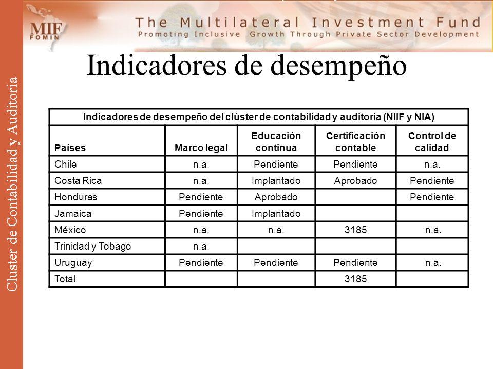 Indicadores de desempeño Cluster de Contabilidad y Auditoria Indicadores de desempeño del clúster de contabilidad y auditoria (NIIF y NIA) PaísesMarco