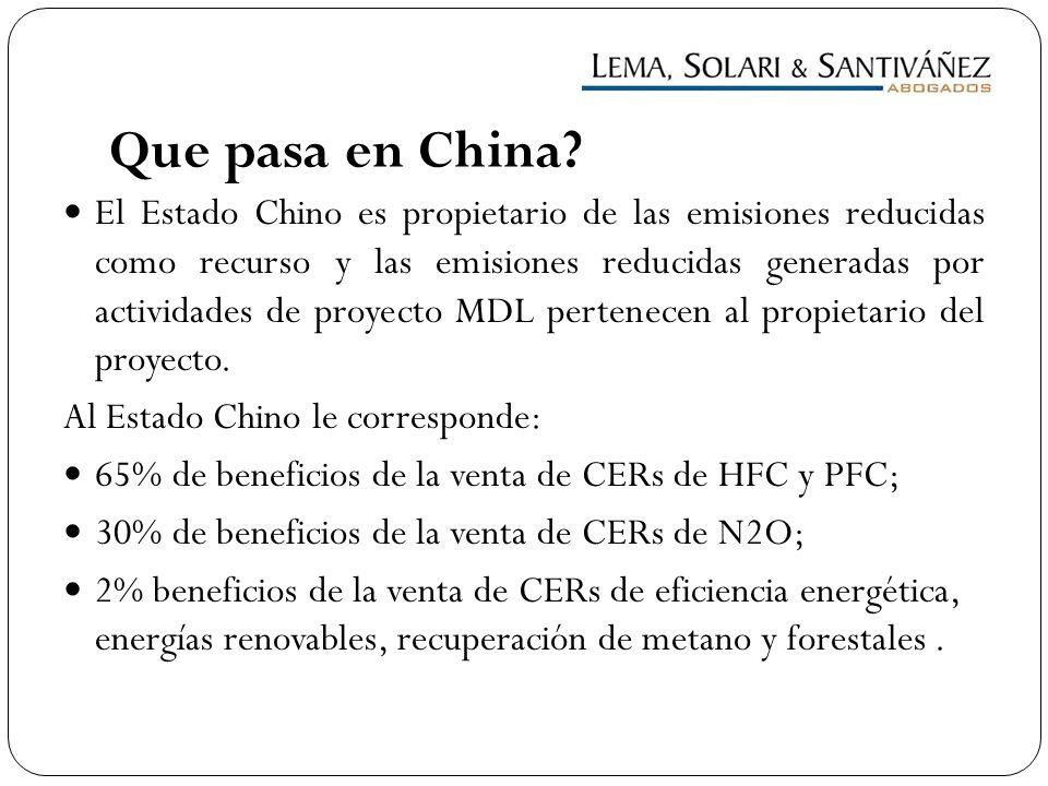 Que pasa en China? El Estado Chino es propietario de las emisiones reducidas como recurso y las emisiones reducidas generadas por actividades de proye
