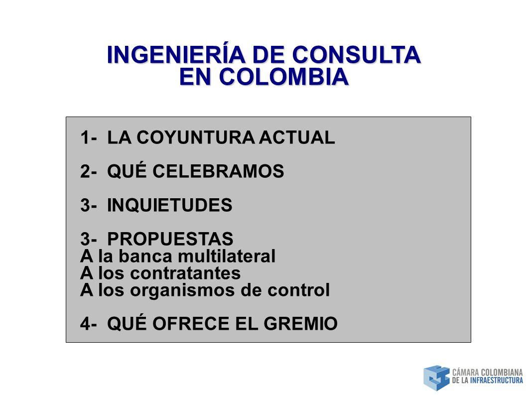INGENIERÍA DE CONSULTA EN COLOMBIA 1- LA COYUNTURA ACTUAL 2- QUÉ CELEBRAMOS 3- INQUIETUDES 3- PROPUESTAS A la banca multilateral A los contratantes A los organismos de control 4- QUÉ OFRECE EL GREMIO