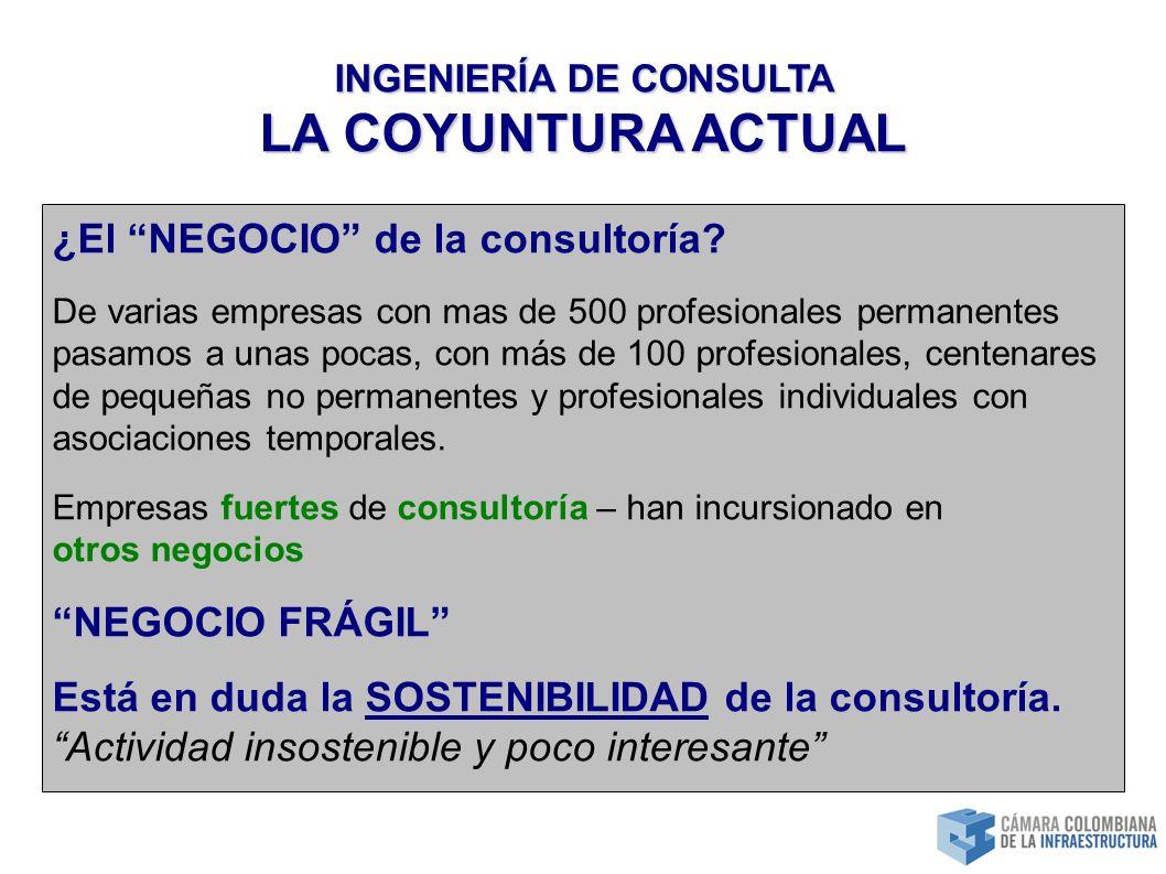 INGENIERÍA DE CONSULTA LA COYUNTURA ACTUAL ¿El NEGOCIO de la consultoría.