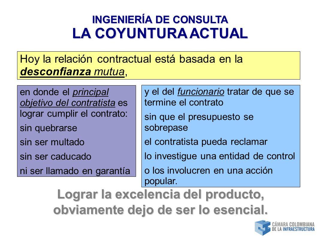 INGENIERÍA DE CONSULTA LA COYUNTURA ACTUAL y el del funcionario tratar de que se termine el contrato sin que el presupuesto se sobrepase el contratista pueda reclamar lo investigue una entidad de control o los involucren en una acción popular.