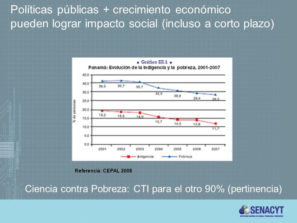 Políticas públicas + crecimiento económico pueden lograr impacto social (incluso a corto plazo) Referencia: CEPAL 2008 Ciencia contra Pobreza: CTI para el otro 90% (pertinencia)