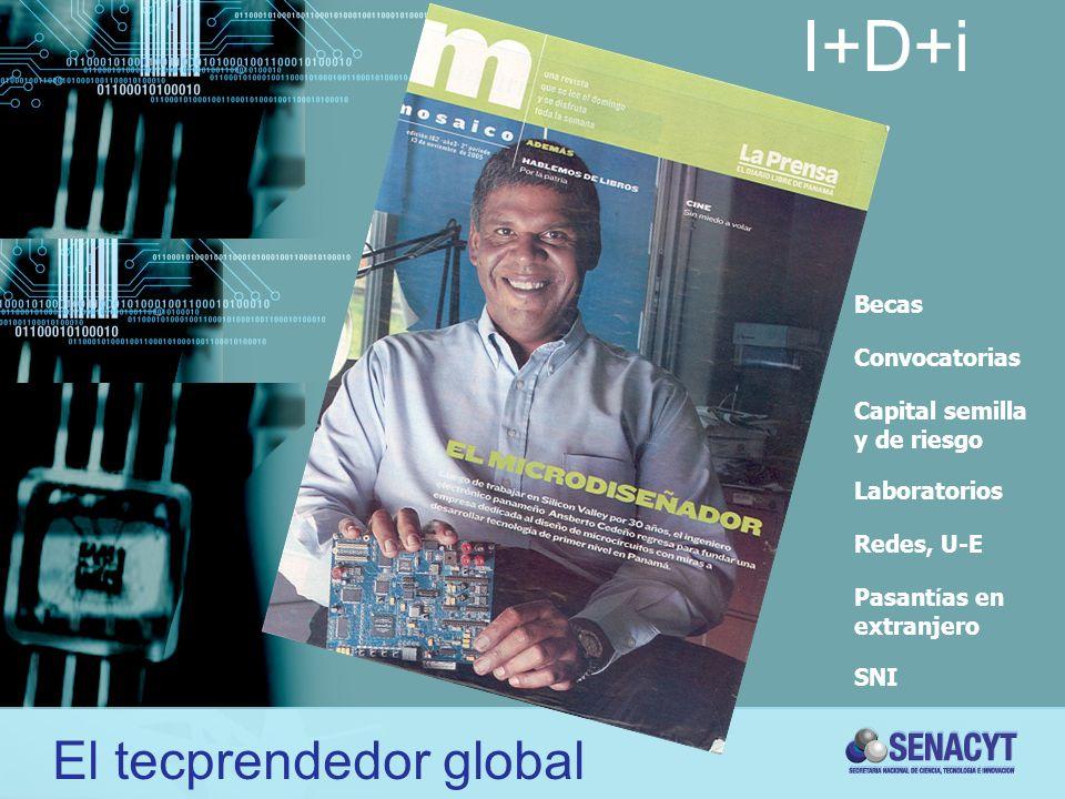 I+D+i El tecprendedor global Becas Convocatorias Capital semilla y de riesgo Laboratorios Redes, U-E Pasant í as en extranjero SNI