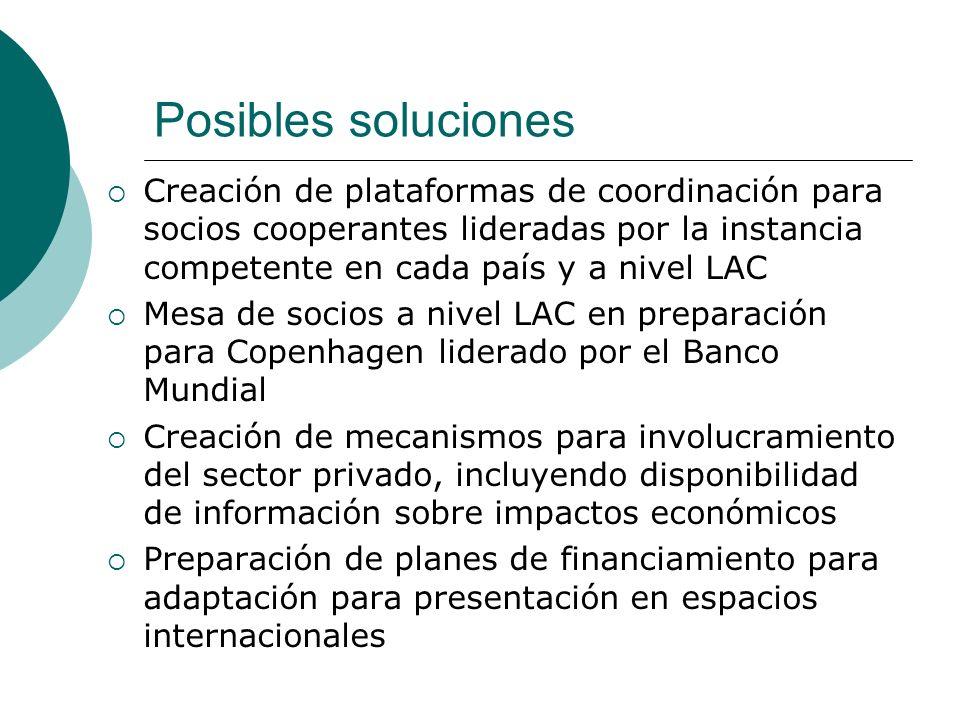 Posibles soluciones Homogenización de criterios para acceso a fondos de organismos multilaterales Criterios de selección para fondos de financiamiento deben incluir vulnerabilidad, no sólo niveles de renta