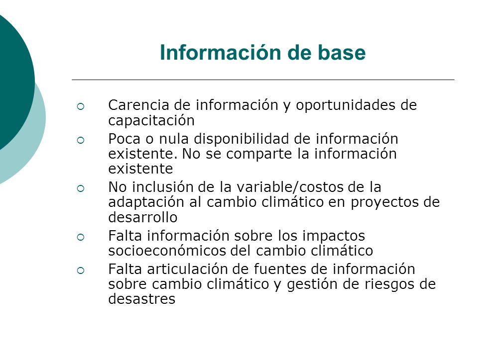 Información de base Carencia de información y oportunidades de capacitación Poca o nula disponibilidad de información existente.