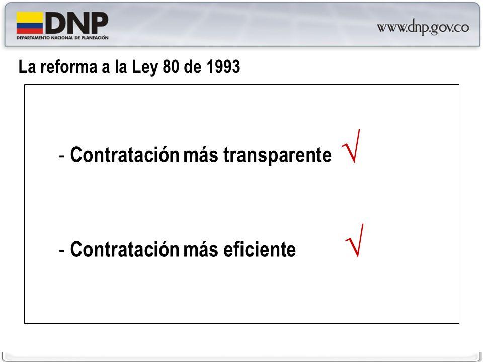 Impacto económico de la Reforma a la Ley 80 de 1993 En el 2004, las entidades públicas recaudaron cerca de $54 mil millones de pesos de hoy por concepto de la venta de pliegos*.