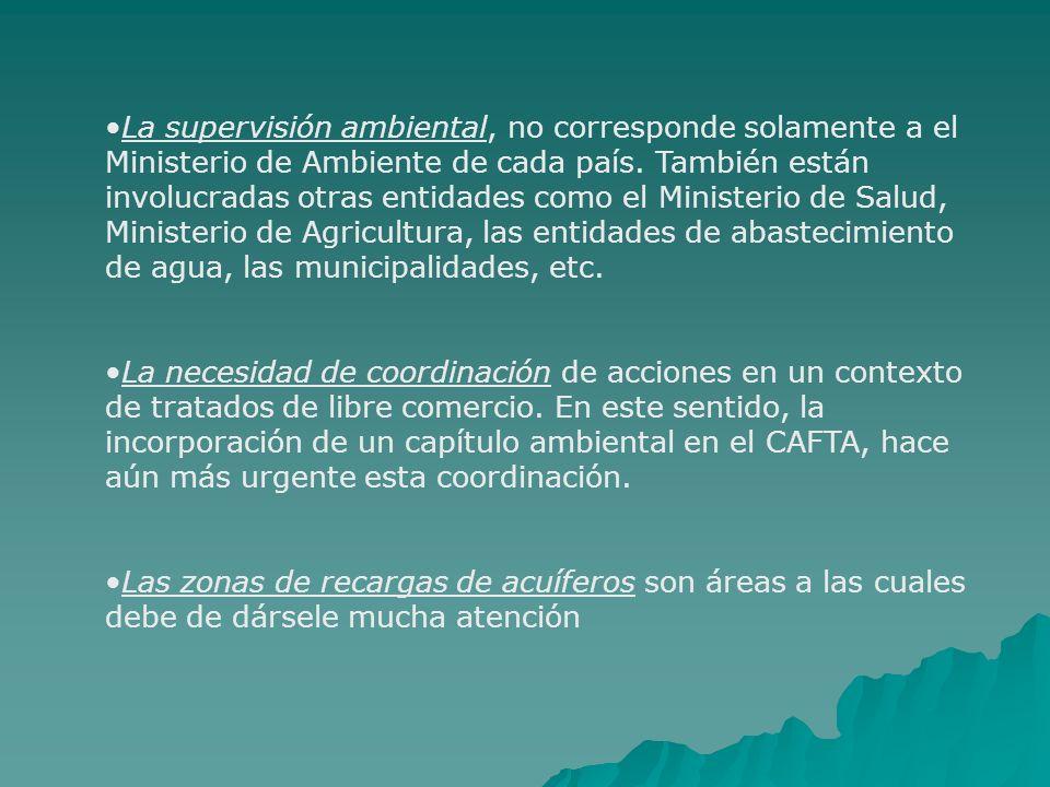 La supervisión ambiental, no corresponde solamente a el Ministerio de Ambiente de cada país. También están involucradas otras entidades como el Minist