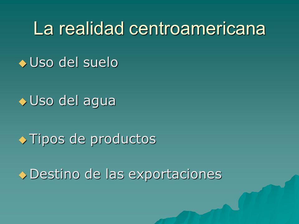 La realidad centroamericana Uso del suelo Uso del suelo Uso del agua Uso del agua Tipos de productos Tipos de productos Destino de las exportaciones D