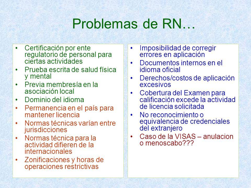 Problemas de RN… Certificación por ente regulatorio de personal para ciertas actividades Prueba escrita de salud física y mental Previa membresía en l