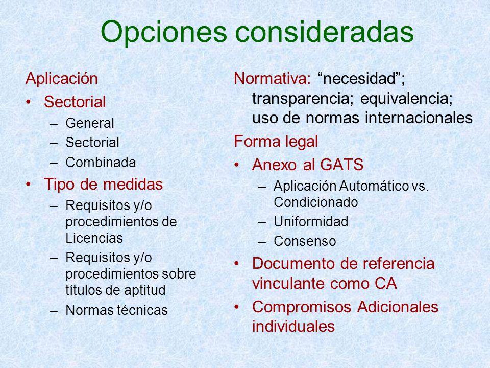 Opciones consideradas Aplicación Sectorial –General –Sectorial –Combinada Tipo de medidas –Requisitos y/o procedimientos de Licencias –Requisitos y/o