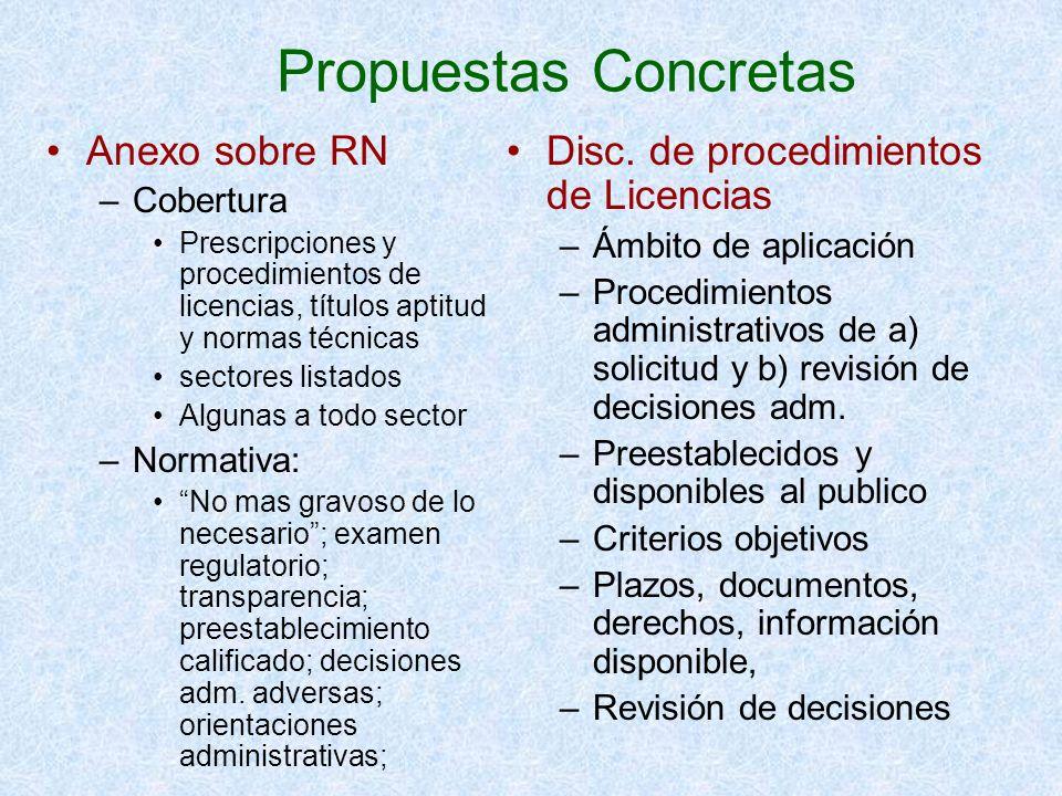 Propuestas Concretas Anexo sobre RN –Cobertura Prescripciones y procedimientos de licencias, títulos aptitud y normas técnicas sectores listados Algun