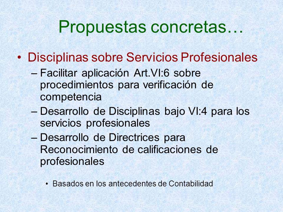 Propuestas concretas… Disciplinas sobre Servicios Profesionales –Facilitar aplicación Art.VI:6 sobre procedimientos para verificación de competencia –