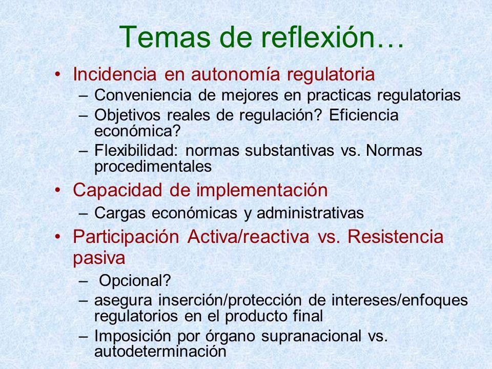 Temas de reflexión… Incidencia en autonomía regulatoria –Conveniencia de mejores en practicas regulatorias –Objetivos reales de regulación? Eficiencia