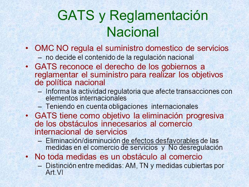 GATS y Reglamentación Nacional OMC NO regula el suministro domestico de servicios –no decide el contenido de la regulación nacional GATS reconoce el d