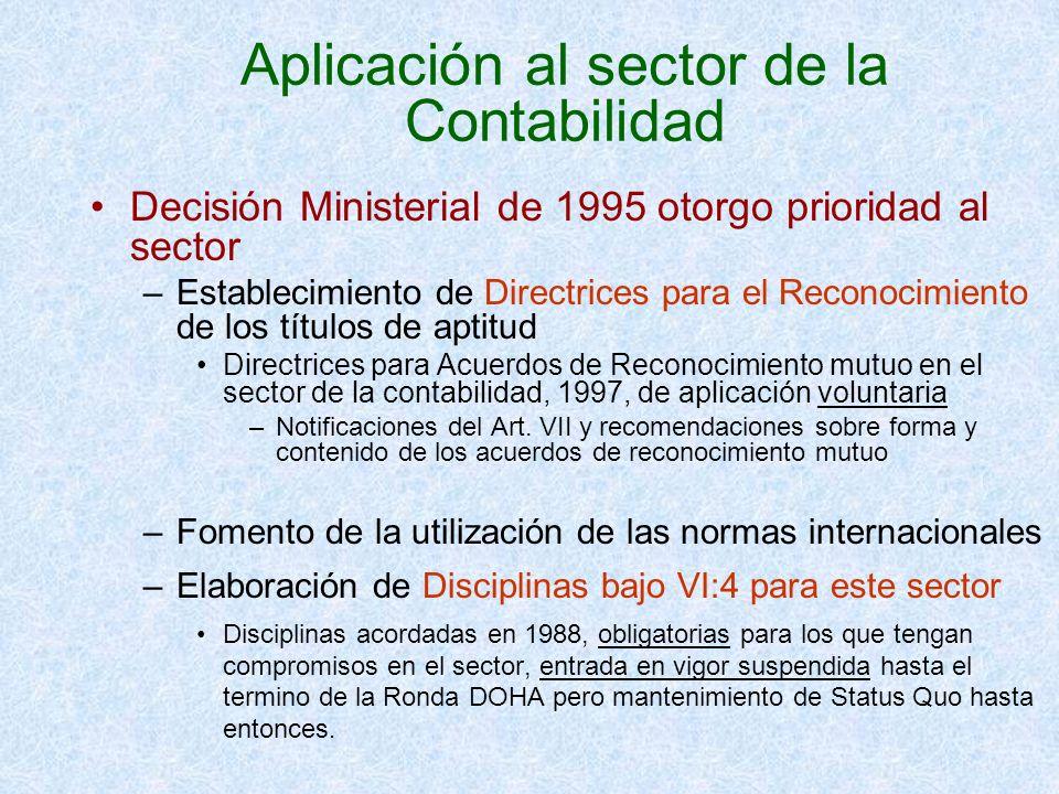 Aplicación al sector de la Contabilidad Decisión Ministerial de 1995 otorgo prioridad al sector –Establecimiento de Directrices para el Reconocimiento