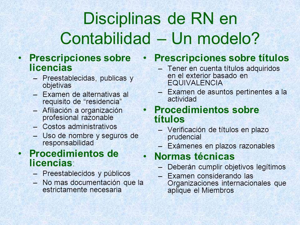 Disciplinas de RN en Contabilidad – Un modelo? Prescripciones sobre licencias –Preestablecidas, publicas y objetivas –Examen de alternativas al requis