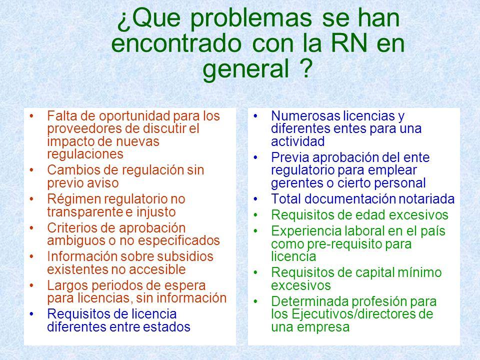 ¿Que problemas se han encontrado con la RN en general ? Falta de oportunidad para los proveedores de discutir el impacto de nuevas regulaciones Cambio