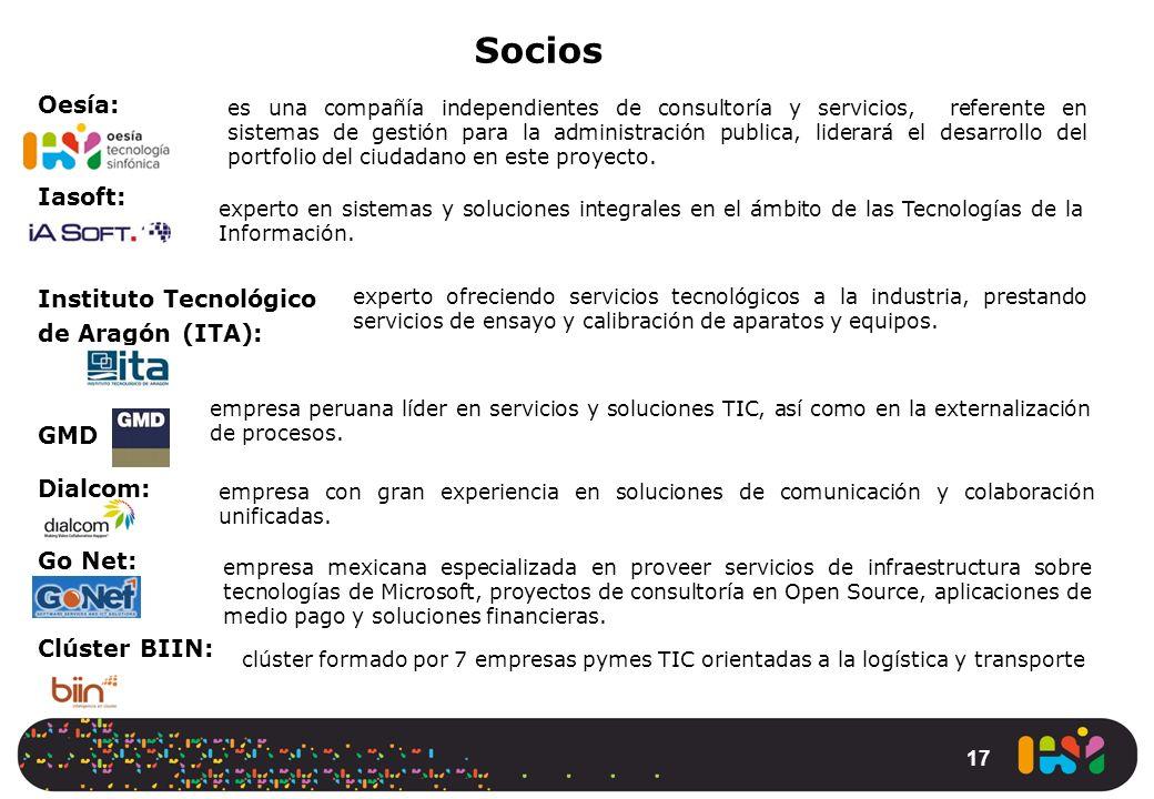 17 Oesía: Iasoft: Instituto Tecnológico de Aragón (ITA): GMD Dialcom: Go Net: Clúster BIIN: Socios es una compañía independientes de consultoría y ser