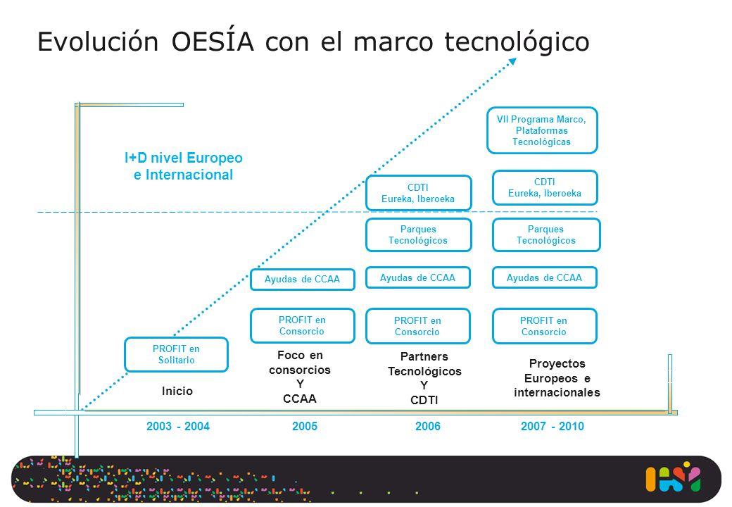 Inicio - PROFIT en Solitario + 2003 - 2004200520062007 - 2010 I+D nivel Europeo e Internacional PROFIT en Consorcio Ayudas de CCAA PROFIT en Consorcio