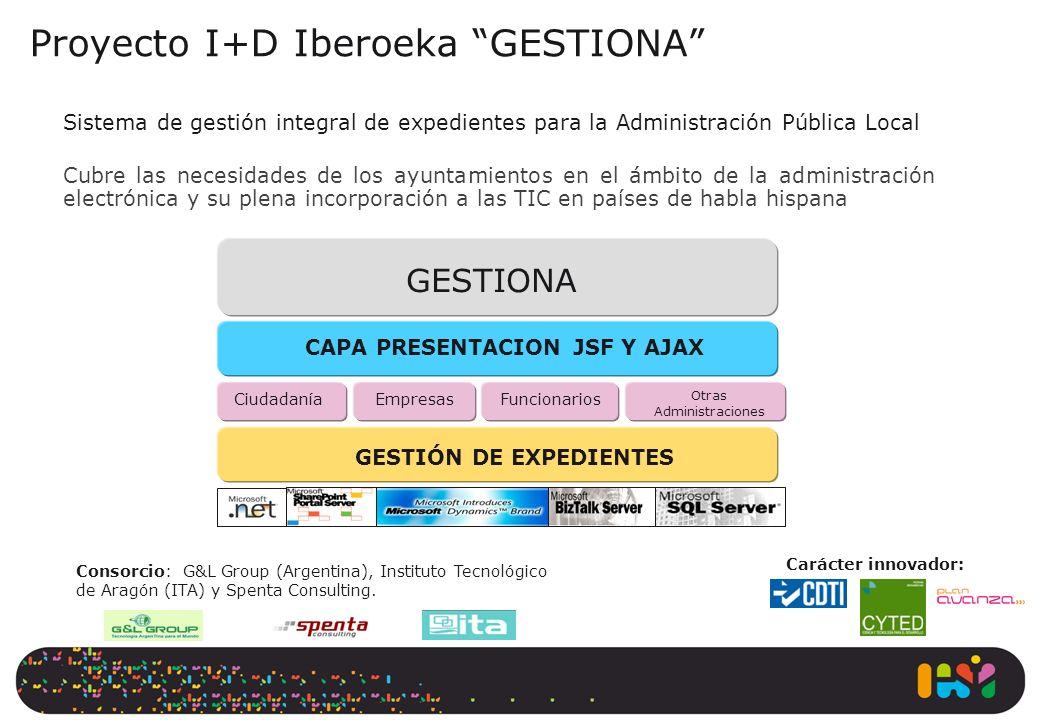 Proyecto I+D Iberoeka GESTIONA Sistema de gestión integral de expedientes para la Administración Pública Local Cubre las necesidades de los ayuntamien