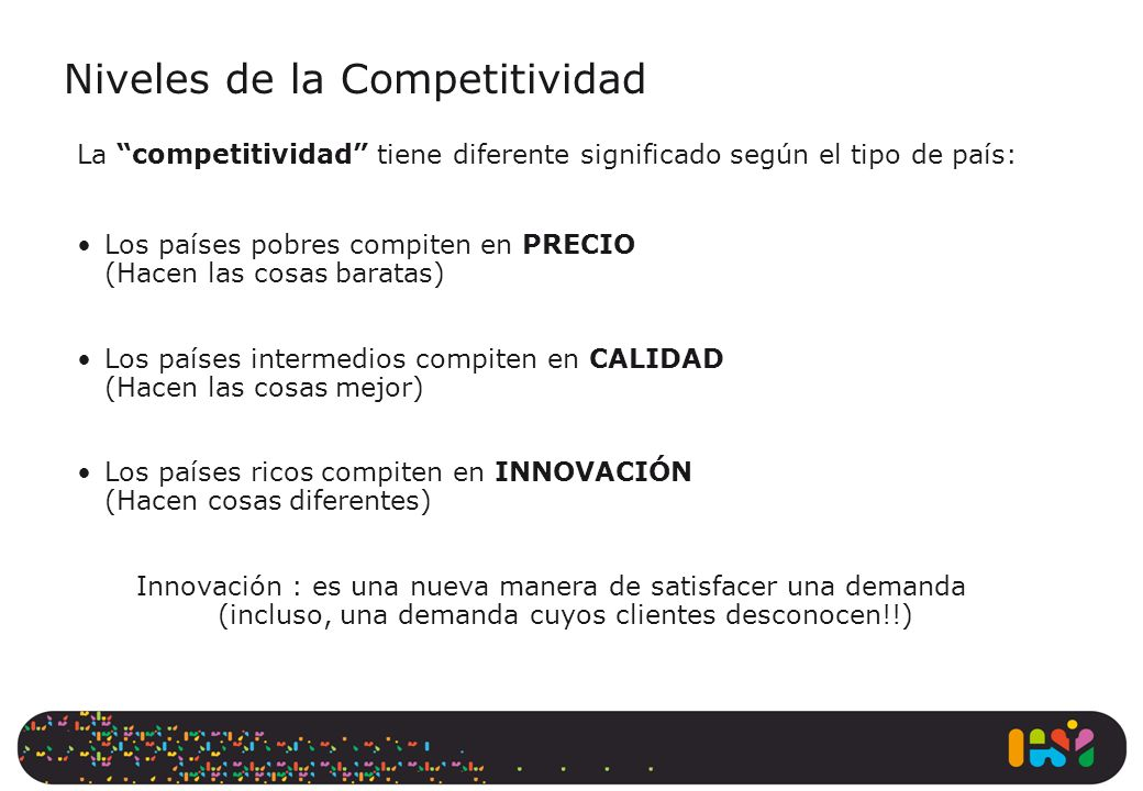 Niveles de la Competitividad La competitividad tiene diferente significado según el tipo de país: Los países pobres compiten en PRECIO (Hacen las cosa