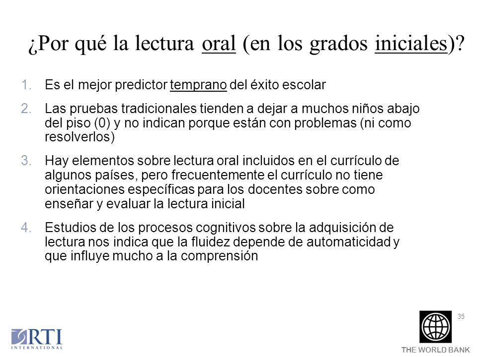 THE WORLD BANK 35 ¿Por qué la lectura oral (en los grados iniciales)? 1.Es el mejor predictor temprano del éxito escolar 2.Las pruebas tradicionales t