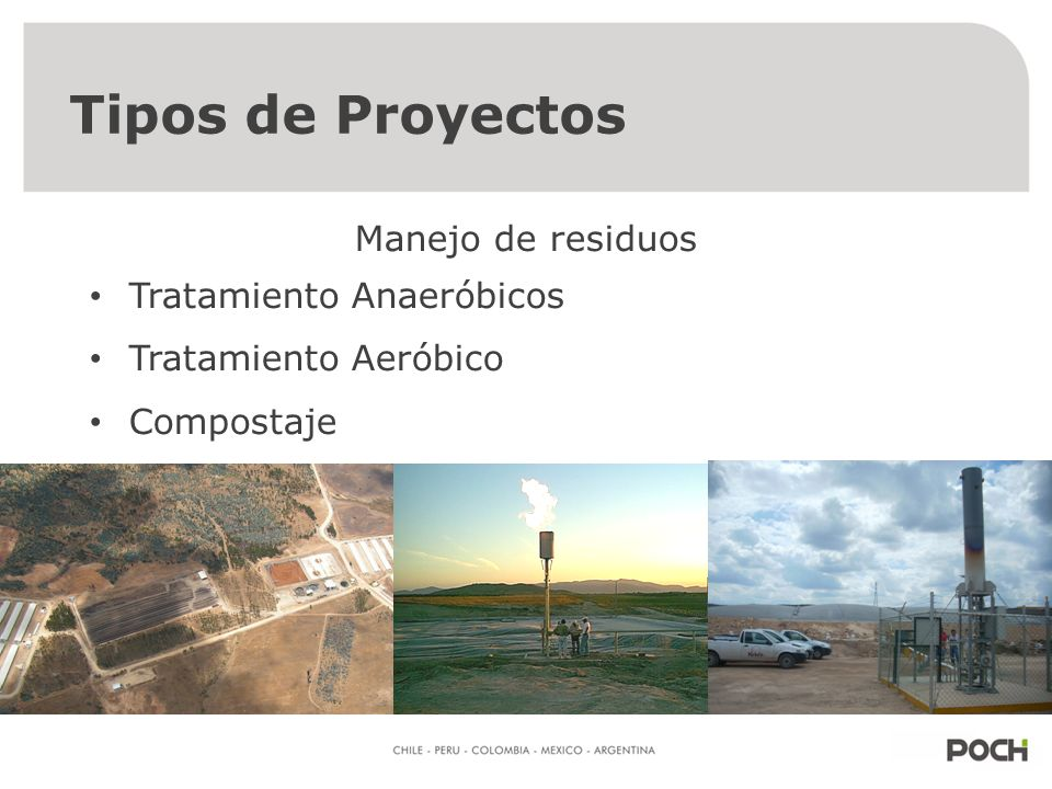 ¿Que tipos de proyectos hay en la agroindustria? Manejo de residuos Aprovechamiento energético de residuos Tipos de Proyectos